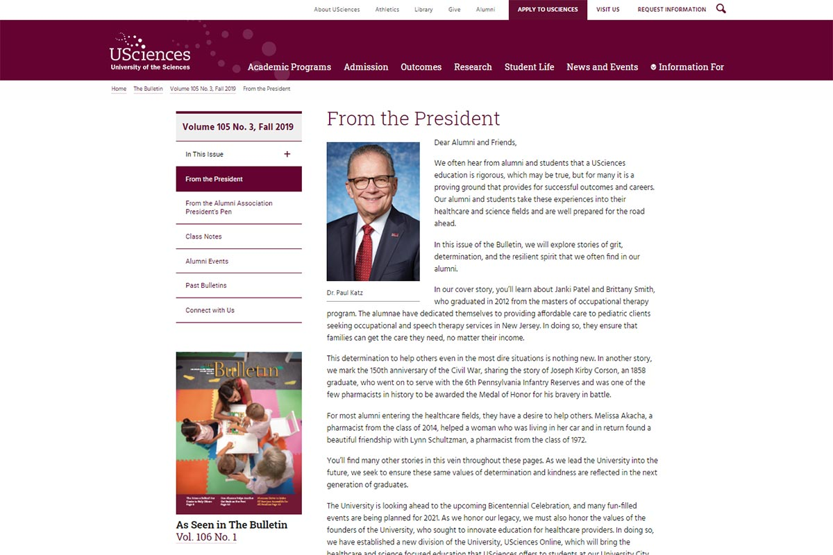 The Bulletin Online president's letter