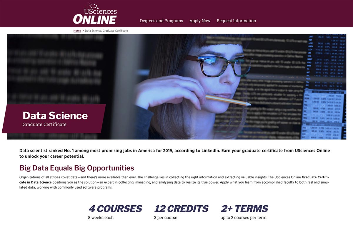 USciences Online Data Science program page