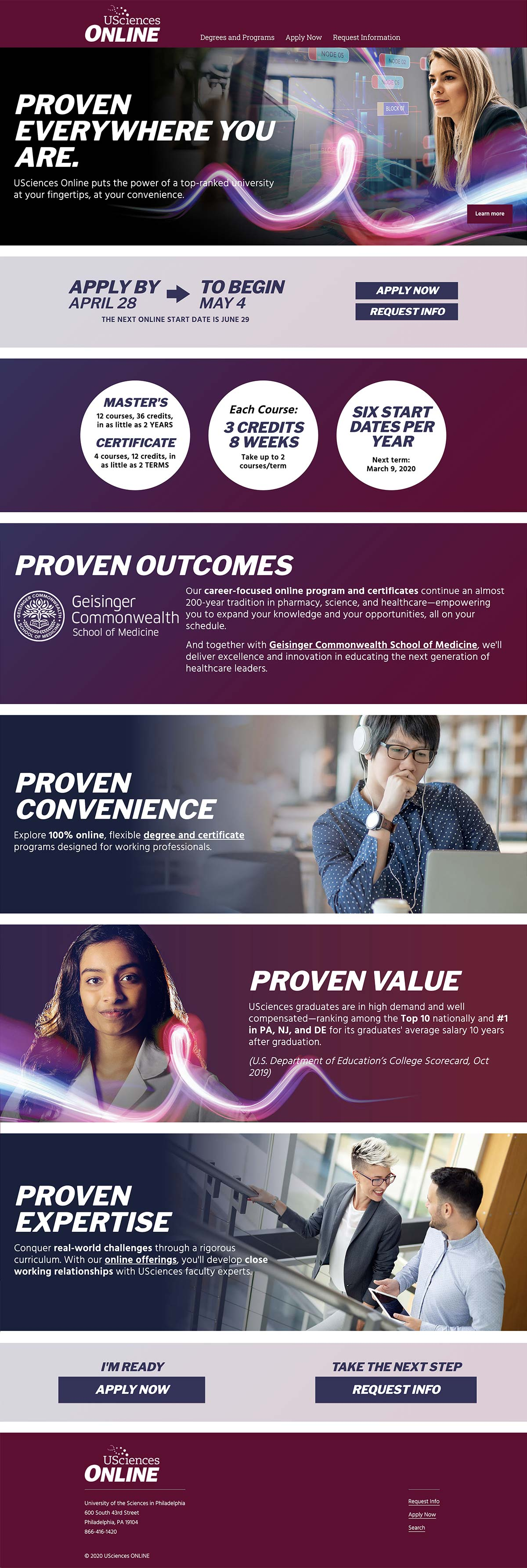 USciences Online homepage