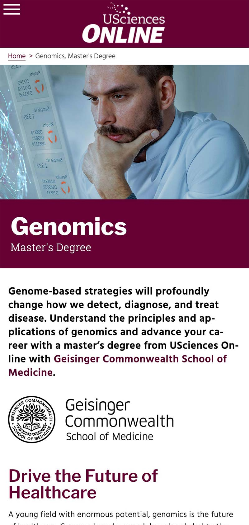 USciences Online Genomics mobile program page