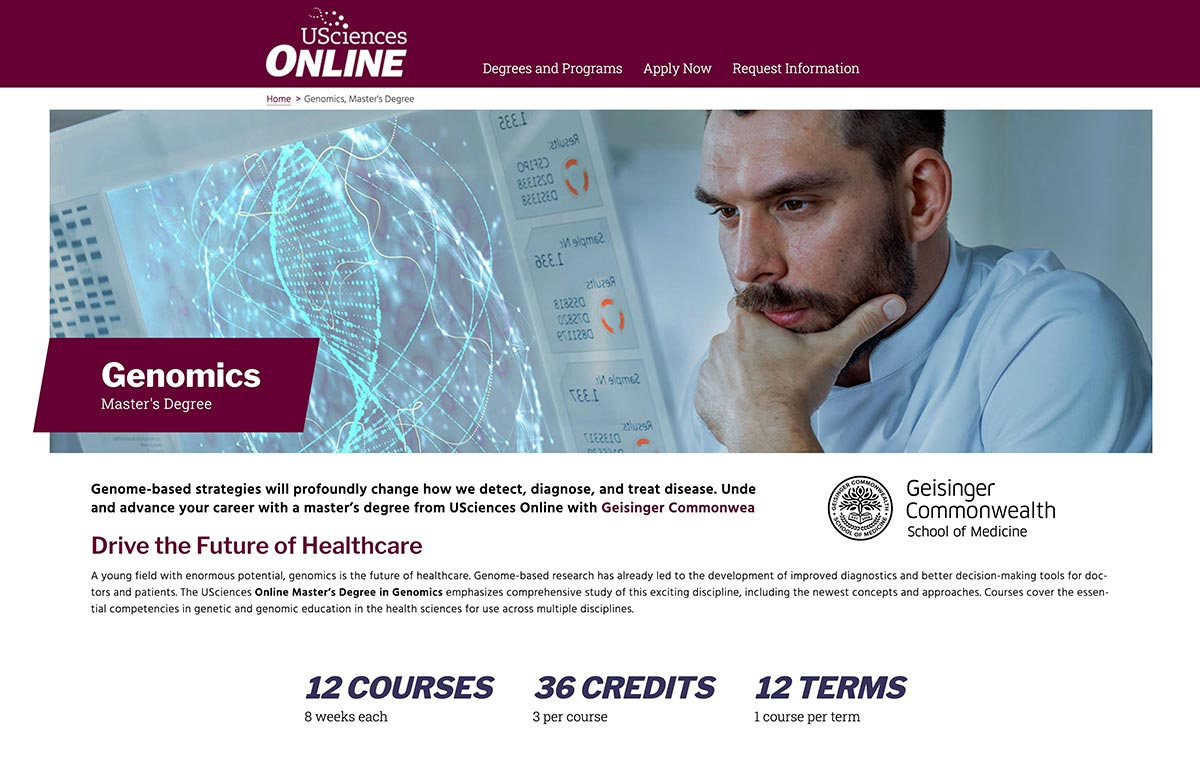 USciences Online Genomics program page