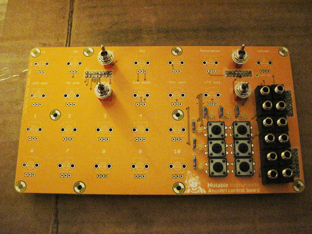 Adding switches and jacks to the Mutable Instruments Anushri control board