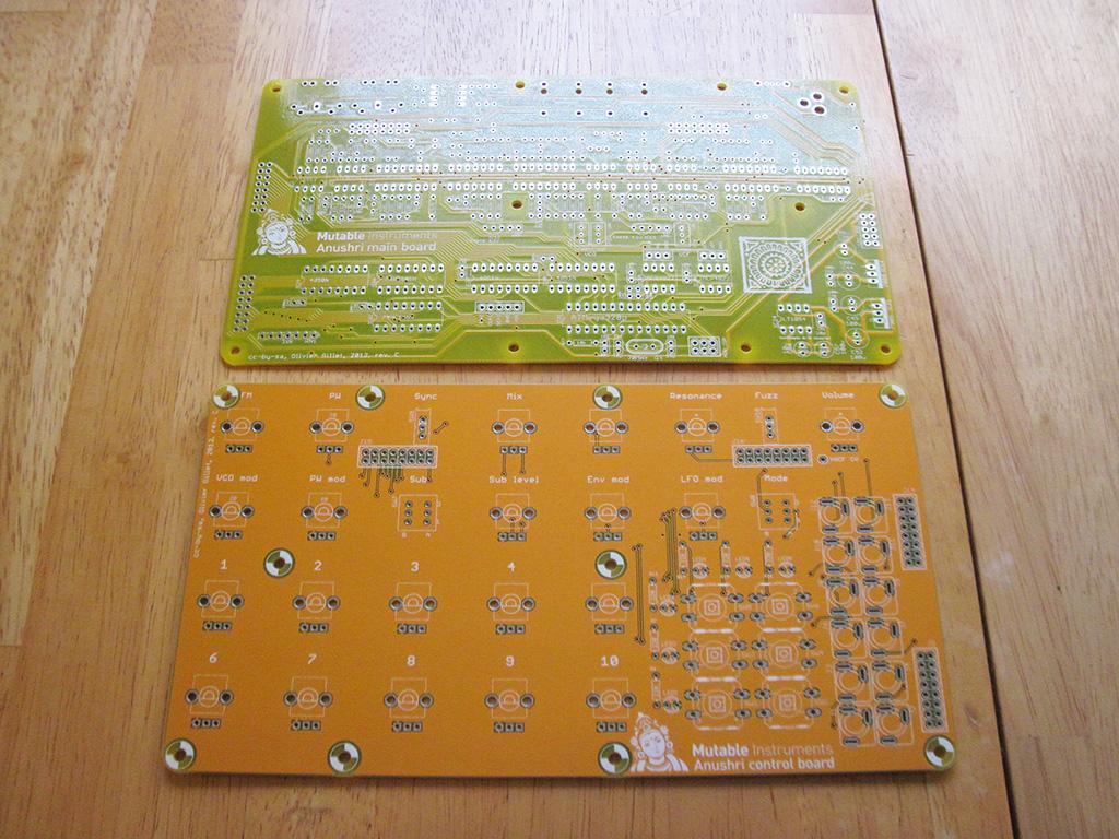 Mutable Instruments Anushri main board and control board PCB