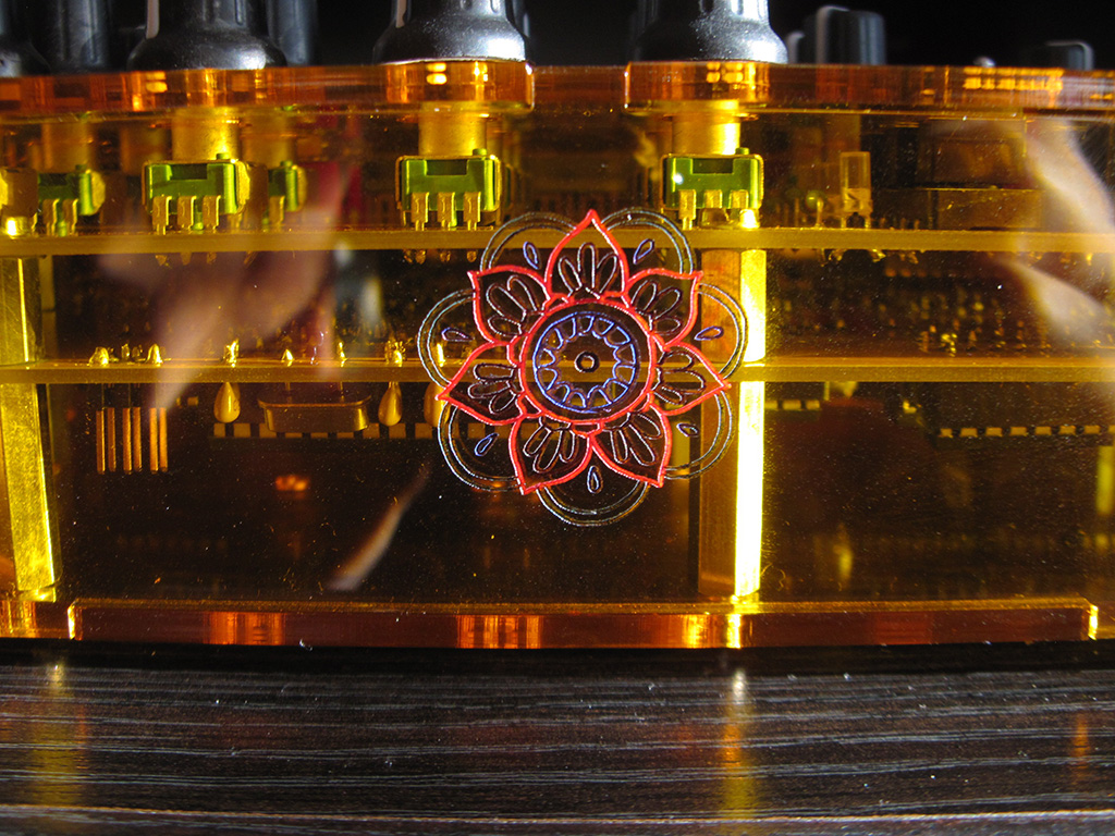Detail of the colored inlay I designed on the Mutable Instruments Anushri