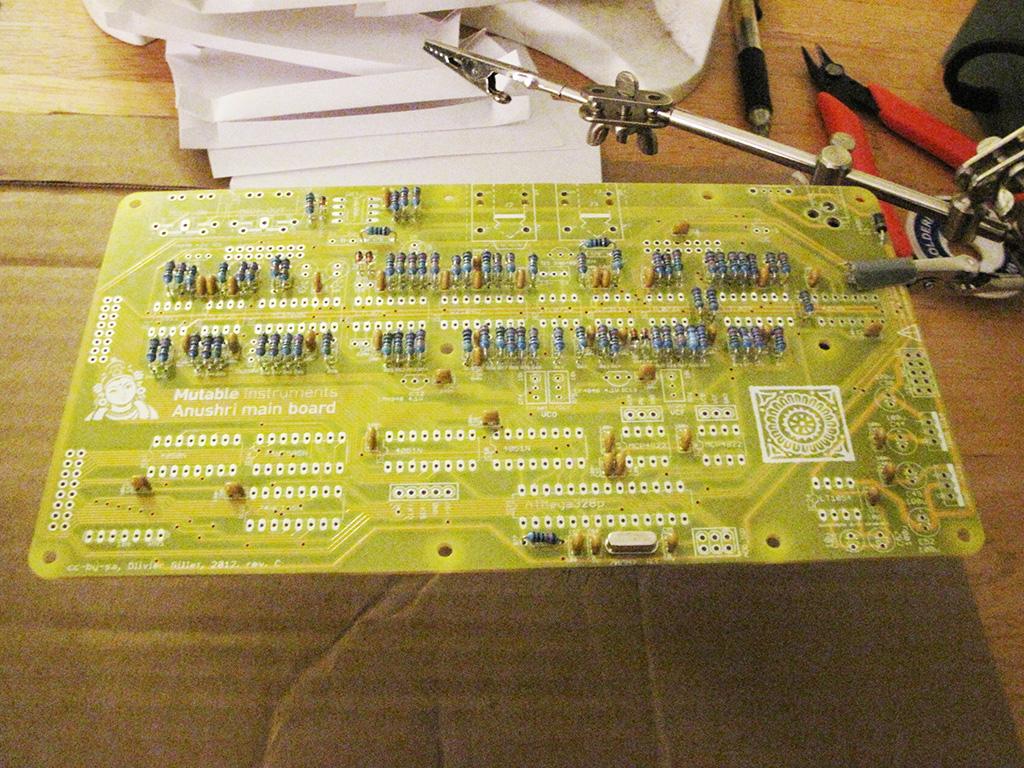 Adding the film capacitors and quartz clock to the Mutable Instruments Anushri
